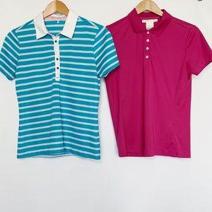 2 Nike Gold Polo Shirt Blue White True Berry